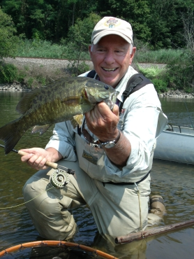 Ourdoor writer Vic Attardo with a nice smallie from a Mohawk River float trip.